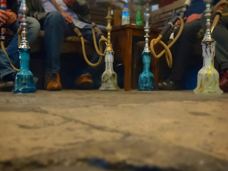 nargile/shisha cafe with stone floor and 4 pipes