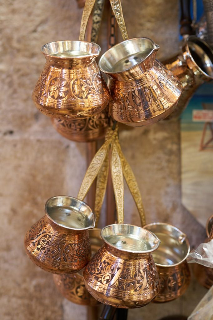 Turkish coffee pot copper brass hanging